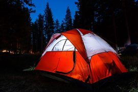 Tent lit at night