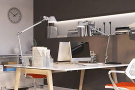 Desk with designer lamps