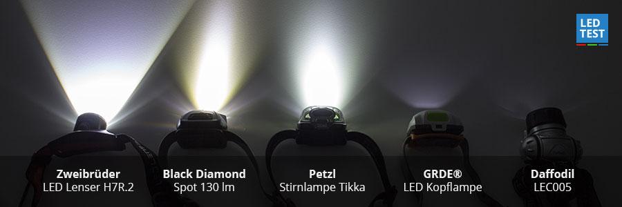 5 LED Stirnlampen im Vergleich 2016